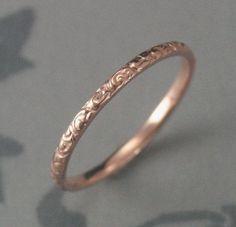 hand engraved rose gold wedding band