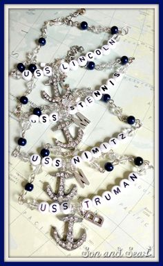 Personalized US Navy ship or sub beaded bracelet with by sonandsea, $25.00