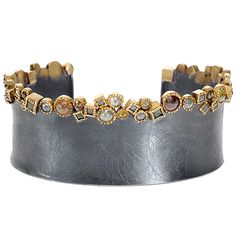 Bracelet by Todd Reed 18ky gold, sterling silver with patina, rose cut diamonds, raw diamond cubes