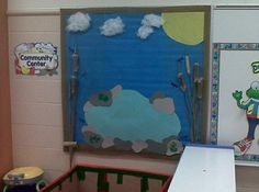 For our pond theme we created a fishing scene in our dramatic play area. We decorated the bulletin board to look like a pond. We even attached real cat tails that we found in our school yard. Next we added our boat which we made out of a box and added fishing poles so that students could catch magnetic fish.