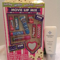 Stocking Stuffers Put a little extra sweetness in your stockings. Movie Lip Mix flavors are: Nerds grape and strawberry, Fun Dip Apple, Pixy Stix Maui Punch Lip Gloss, Nerds Rainbow, Fun Dip Cheery, Pixy Stix Strawberry, Laffy Taffy Blue Raspberry, and Laffy Taffy Strawberry Lip Gloss. The Vera Wang foot scrub is Rosemary and Eucalyptus.. I'm sorry but I don't trade. Makeup Lip Balm & Gloss