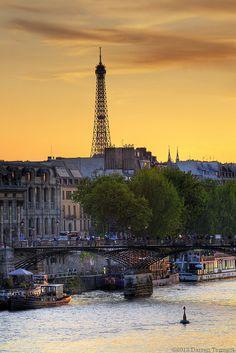 Le Seine, le Pont des Arts, la Tour Eiffel, et le coucher du soleil. Le Paradis.
