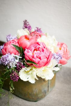 I love the look of peonies and the fragrance of lilacs - together they make the perfect pair for a centerpiece