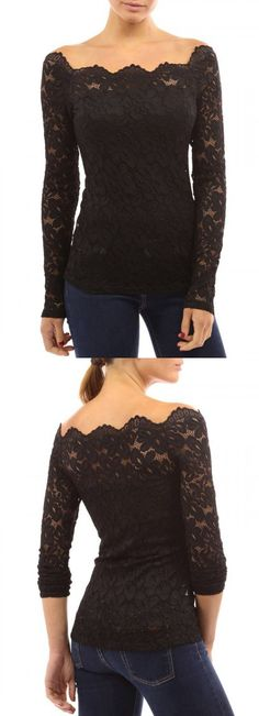 Black Lace Off Shoulder Long Sleeve T-shirt