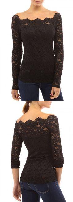 Black Lace Off Shoulder Long Sleeve T-shirt