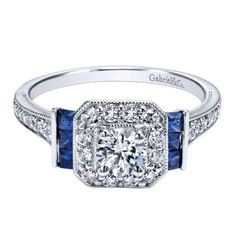A gorgeous sapphire halo revolves around this Gabriel & Co. White Gold Diamond And Sapphire Halo Engagement Ring Setting vendor model # Vintage Inspired Engagement Rings, Round Halo Engagement Rings, Engagement Jewelry, Engagement Ring Settings, Square Diamond Rings, White Gold Diamonds, Black Diamond, Fashion Rings, Photo Shoot