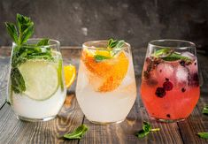 Gin og tonics med tranebær, agurk, mynte, appelsin, lime, citron, rosmarin, timian