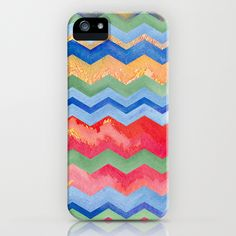 Watercolor Chevron Happiness iPhone Case