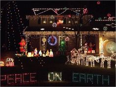 7 - Outrageously Over-the-Top Christmas Light Displays! Peace Out Christmas Light Show, Christmas Light Displays, Christmas Lights, Merry Christmas, Xmas, Outdoor Christmas Decorations, Holiday Decor, Over The Top, Tree Lighting