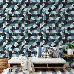 Black and Blue Peel & Stick Wallpaper - Canvas Wall Decal / 1 roll: 24W x 96H