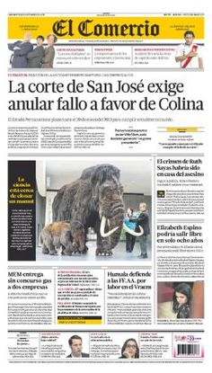 Portada de El Comercio: La corte de San José exige anular fallo a favor de Colina.   25 de setiembre 2012