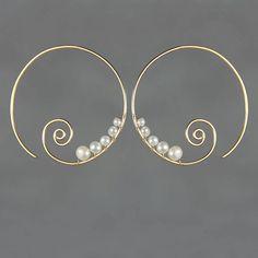 14k gold filled Pearl wiring scroll hoop earring by AnniDesignsllc