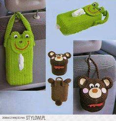 New diy bag holder tissue boxes Ideas Plastic Bag Crochet, Crochet Car, Cute Crochet, Crochet For Kids, Crochet Crafts, Crochet Toys, Crochet Projects, Diy Bags Holder, Crochet Organizer