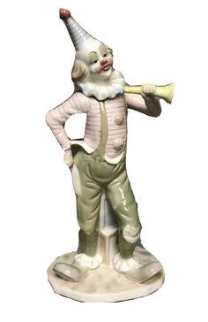 "12"" George Good Porcelain Circus Clown Figurine on ABC Blocks Tambourine Horn Pierrot Clown, Circus Clown, Tambourine, Horn, Garden Sculpture, Porcelain, Outdoor Decor, Horns, Porcelain Ceramics"