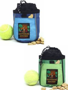 $9.59-$14.99 This Treat 'N Ball Bag is ideal for holding a ball, treats and other items used in play and training. Keeps your hands free and keeps treats and balls out of your pet's view. Drawstring secures closure and traps smells inside bag when not in use. The durable clip attaches to belt loop or clothing. Assorted colors.  Size: 7.5 in H x 5.5 in W. Folds for convenient storage. THIS LISTING ...