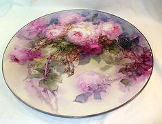 Awwwwwwwesome Victorian signed 16 in HP rose limoges charger platter!!!!! Marked T, Limoges, France