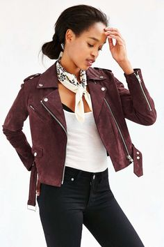 OBEY Suede Moto Jacket - Urban Outfitters