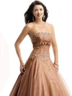 2012 Style Ball Gown Strapless Beading Sleeveless Floor-length Organza Prom Dresses / Evening Dresses (SZ0255185) - MicWell.com