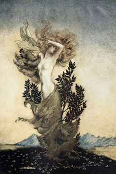 "colin-vian: "" Arthur Rackham - Daphne transforming into a laurel while fleeing from Apollo, 1921 """