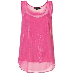 DKNY Silk Sequined Top In Charming Pink (1.125 VEF) ❤ liked on Polyvore featuring tops, shirts, tank tops, pink, tanks, pink silk shirt, pink sequin tank top, silk camisole, pink tank top en silk tank