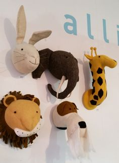Gorgeous new felted animal heads have just arrived - These quirky, soft plush animal heads will make a fun a statement on any wall Plush Animals, Felt Animals, Animal Heads, Little Man, Dinosaur Stuffed Animal, Deco, Toys, Board, Wall