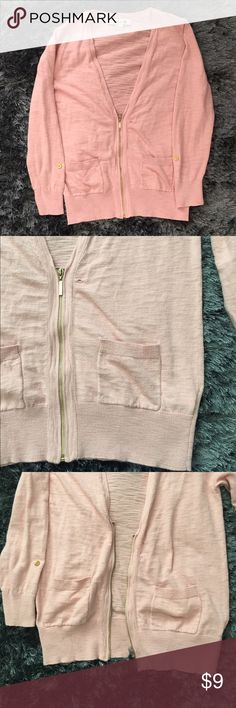 Pink cardigan Forever 21 pink cardigan, half zip, minor small hole near zipper shown in picture. Two pockets on front. 3/4 sleeve with button. Color resembles first picture Forever 21 Sweaters Cardigans