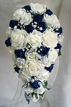 Teardrop Wedding Bouquet, Ivory and Navy Blue Roses with pearls Blue Flowers Bouquet, Bridal Bouquet Blue, Bridal Flowers, Flower Bouquet Wedding, Bride Bouquets, Pearl Bouquet, Royal Blue Bouquet, Navy Bouquet, Blue Flower Arrangements