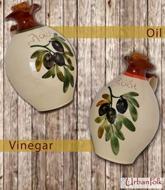 Olive Oil & Vinegar Bottle for a French Country Style. Handmade of fine red clay & hand-painted.