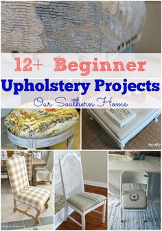 Beginner Upholstery Projects 12 Beginner Upholstery Projects even the beginner can tackle via Our Southern Home The post Beginner Upholstery Projects appeared first on Upholstery Ideas. Reupholster Furniture, Furniture Repair, Furniture Projects, Furniture Making, Furniture Makeover, Coaster Furniture, Living Room Upholstery, Chair Upholstery, Upholstery Cleaning