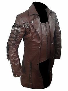 Mens REAL Black Brown Red Leather Goth Matrix Trench Coat Steampunk Gothic - T18 Red Leather Jacket Men, Mens Leather Coats, Leather Trench Coat, Brown Leather, Red Trench Coat, Leather Jackets, Jacket Types, Types Of Jackets, Steampunk Jacket