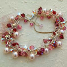 Pink Pearl Bracelet, Swarovski, Ruby and Rose Crystal, Sterling Silver, Wedding, Handmade Valentine Jewelry