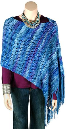 Hudson poncho, free pattern from Berroco. Great for beginners, it's just one big rectangle of SC & DC. . . . . ღTrish W ~ http://www.pinterest.com/trishw/ . . . . #crochet
