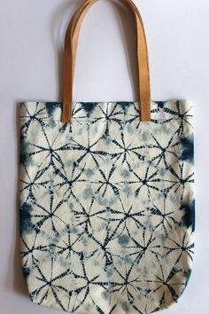 Charlotte Bartels - Spiderweb Shibori Plant Dyed Cotton Tote Bag Shoulder Bag with Leather Handles Indigo Blue