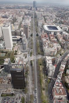 Madrid. Paseo de la Castellana looking north from above. On the right, the Real Madrid soccer field.
