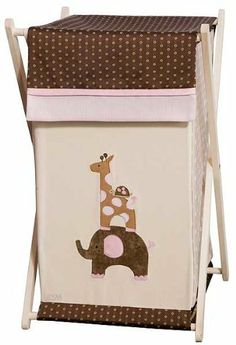 Lambs & Ivy Emma Hamper by Lambs & Ivy. $35.95. 27038 Features: -Wooden stand that folds flat for easy storage.-Inner mesh bag that removes easily.-Embroidered elephant, giraffe and turtle.-Perfectly designed to coordinate with Emma bedding and accessories. Color/Finish: -Color brown polka dotted top flap. Collection: -Emma collection.