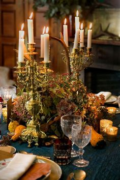 For a Regal Thanksgiving Table. Would never happen at my home.the candles would fall.kids breaking the glasses. oh the wonderful world of Luxury Living! Thanksgiving Tablescapes, Thanksgiving Decorations, Table Decorations, Holiday Decor, Centerpieces, Thanksgiving Celebration, Raindrops And Roses, Vibeke Design, Autumn Table