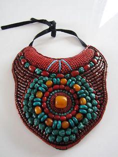 Vintage tribal turquoise/carnelian/amber necklace. Amazing.