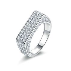 Lex /& Lu Sterling Silver Pave Yellow-plated 113 Stone CZ Ring