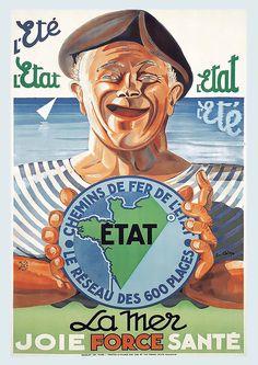 Bid Now: La Mer Joie Force Santé L'Etét LL'Etat vers 1930 - April 3, 0121 2:00 PM CEST King George, Poster On, Travel Posters, Vintage Posters, Let It Be, April 3, Fictional Characters, Paris, Joy