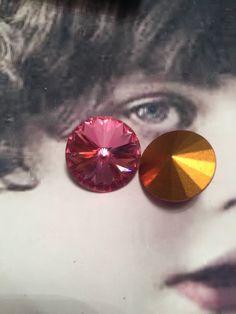 Vintage Swarovski 18mm Rose Rivoli Crystal 7382ROS x2 by dimestoreemporium on Etsy