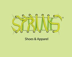 """String Logo design - Modern and glamorous logo designed for shoe and clothing shops. Logo represents a shoe-string that forms the word """"string"""" as it wraps along the slots. Price $399.00"""