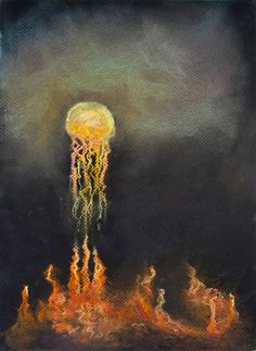 """Jellyfish Sun above Coral Cities,"" 9x12. Pastel on Paper. Sarah Szabo"