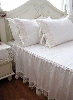Victoria's deco Shabby and Elegant Style Ivory White Lace W/Ties Matching Cotton Pillowcase