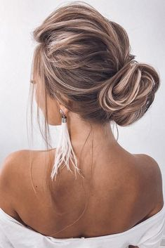 36 Trendy Swept-Back Wedding Hairstyles ❤️ swept back wedding hairstyles slightly messy low bun on medium blonde hair ❤️ Ball Hairstyles, Fancy Hairstyles, Undercut Hairstyles, Short Hairstyles For Women, Wedding Hairstyles, Fashion Hairstyles, Blonde Hairstyles, Simple Hairstyles, Short Hair Bun