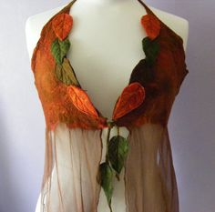 Russet Faerie Floaty Leafy Halter Top Size large to XL by folkowl, $85.00