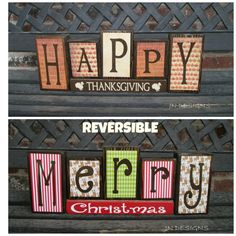Reversible Christmas and Thanksgiving wood blocks-(reindeer)Happy Thanksgiving reverses with Merry Christmas