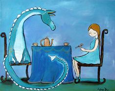 Dragon and Princess Painting Little Girls Room Decor by andralynn, $100.00