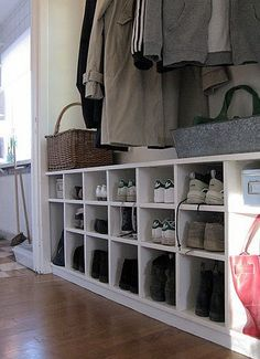 Love the shoe cubby idea. I would go full length of mudroom and higher Boot Room, Mudroom, Hallway Storage, House Styles, Home Decor, Entryway, Storage, Shelving, Shoe Cubby