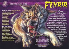 Name: Fenrir Category: Monsters of the Mind Card Number: 95 Front: Fenrir Monsters of the Mind card 95 front Back: Fenrir Monsters of the Mind card 95 back Trading Card: Myths & Monsters, Monster Book Of Monsters, Monster Cards, Sea Monsters, Wild Creatures, Magical Creatures, Norse Symbols, Animal Magic, Prehistoric Animals