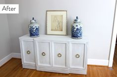 Before & After- Chalk paint buffet makeover from mid-century to contemporary chic. #DIY
